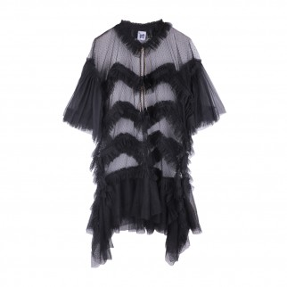 黑色多層薄紗連身裙