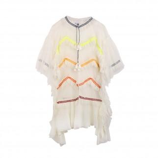 米白色多層薄紗連身裙