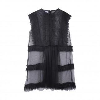 黑紗型格外套裙