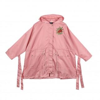 粉紅色花朵剌繡防水長風褸