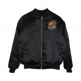黑色雙面花朵剌繡bomber jacket