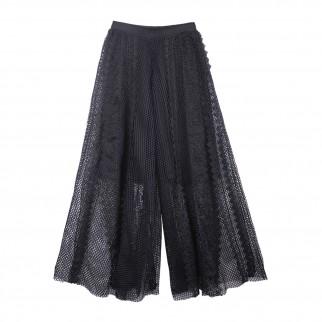 黑紗型格薄紗網褲