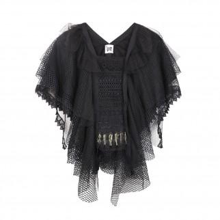 黑色多層薄紗型格上衣