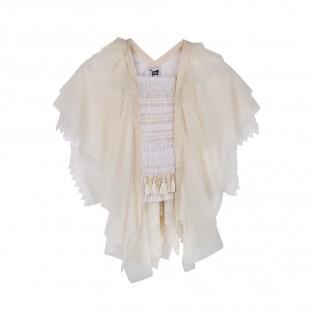 米白色多層薄紗型格上衣