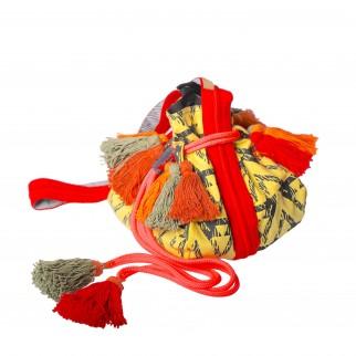 姜黄色帶蘇蘇民族水桶布袋