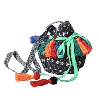 綠色索繩蘇蘇民族水桶布袋
