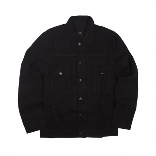 黑色trucker斜紋布外套