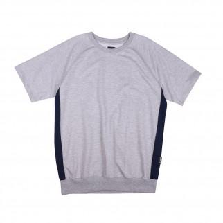 灰色拼接牛角袖短袖衛衣