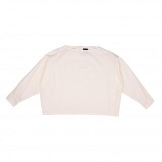米白色一字領長袖恤衫