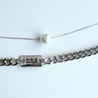 型格粗頸鏈配珍珠 ( 可分開戴 )