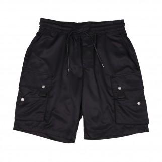 黑色防水布啪鈕袋短褲