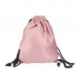 粉紅色摺皺索繩背包袋