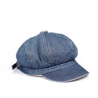 藍色牛仔布型格八角帽
