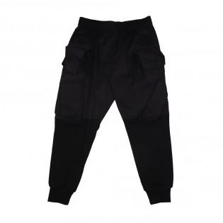 黑色多袋型格長褲