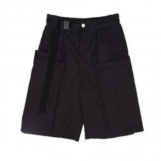 黑色多袋闊腳短褲