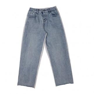 牛仔綿布拼接闊褲