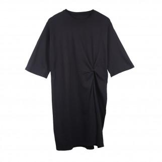 黑色中袖摺腰連身裙