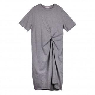 灰色扭結連衣裙