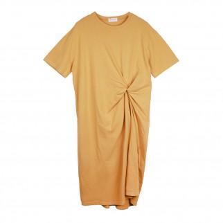 黃色扭結連衣裙
