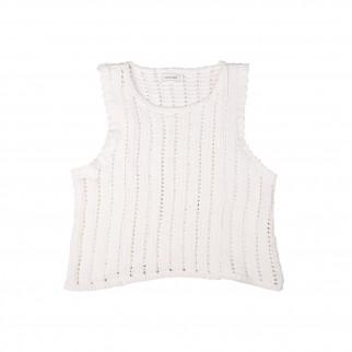 白色針織背心